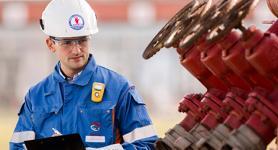 Arbeiter in einer Anlage für Energiemanagement